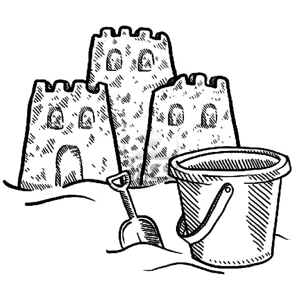 Sand Castle And A Beach Bucket Coloring Pages Best Place To Color