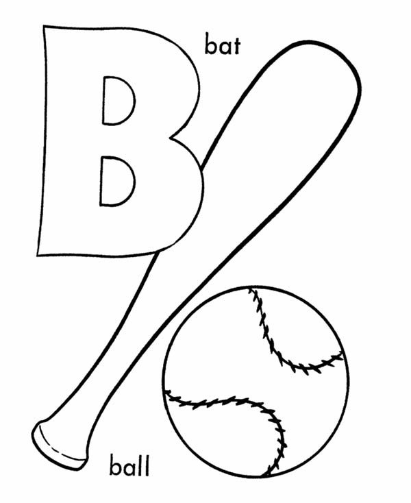 Baseball and Bat for Learning Letter B Coloring Page ...