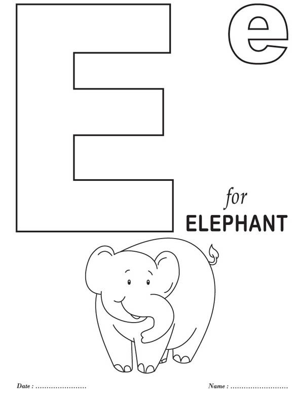 Big Letter E Coloring Page | Best Place to Color