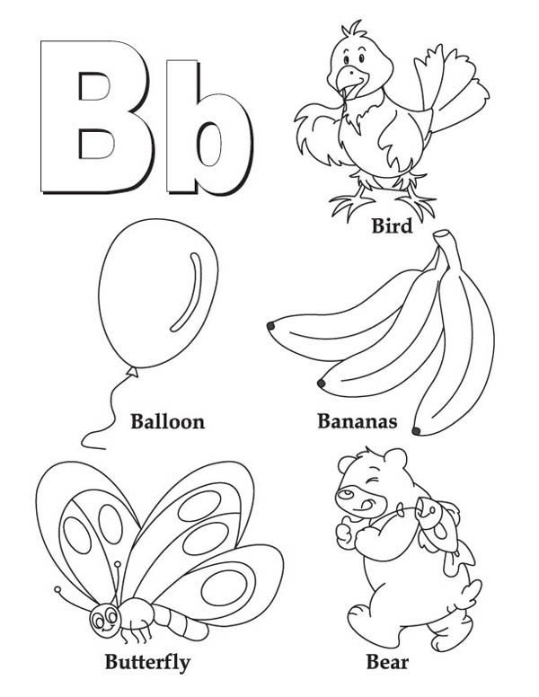 Kids Learning Letter B Coloring Page