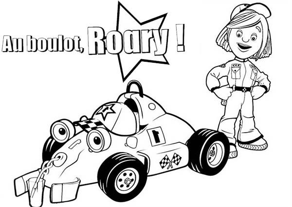 marsha and roary the racing car taking picture coloring pages