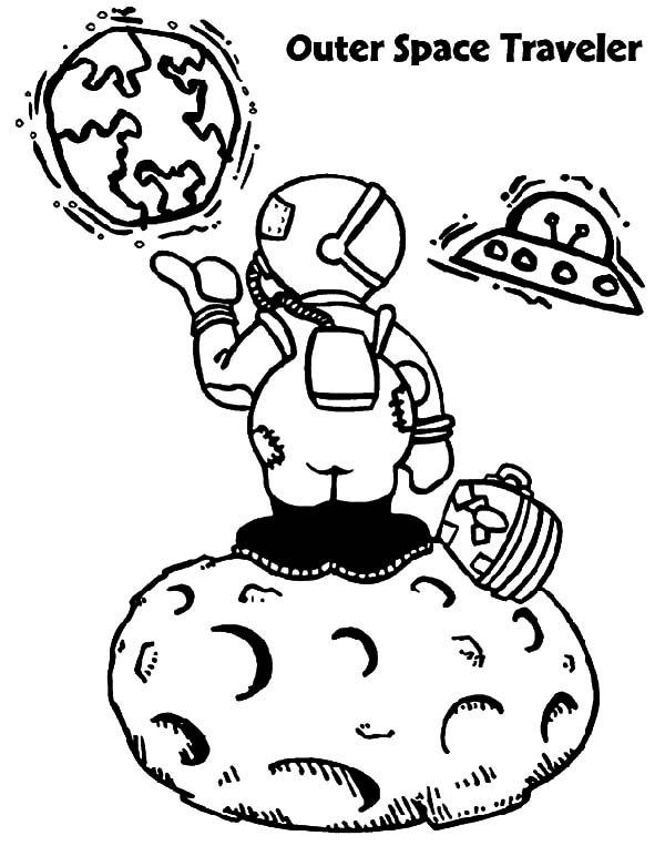 Outer space traveler space travel coloring pages best for Outer space coloring page