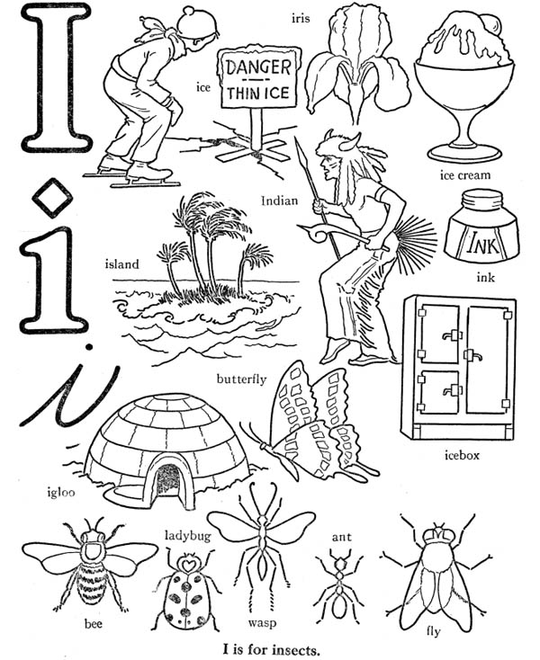 Preschool Kids Learn Letter I Words Coloring Page : Best