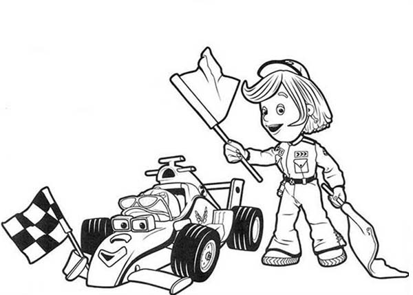 Roary The Racing And Marsha Holding Race Flag Car Coloring