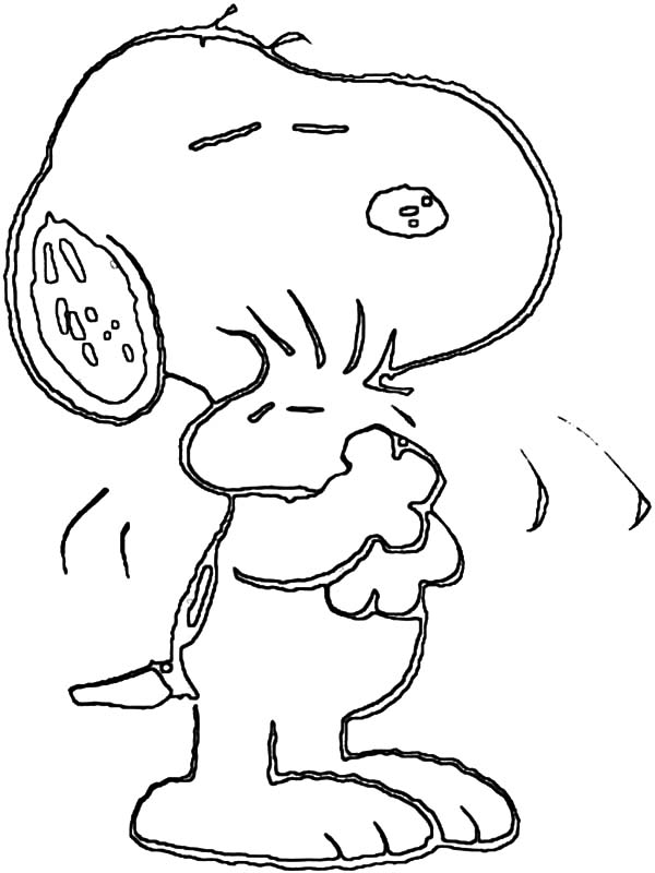 Snoopy Hug Woodstock Tight Coloring Pages Best Place To Color
