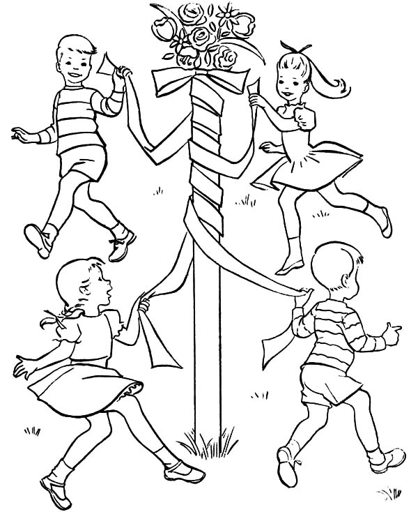 Spring Activity Maypole May Day Coloring Pages : Best ...
