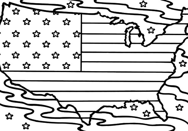 United States Of America Map Patriots Day Coloring Pages ...
