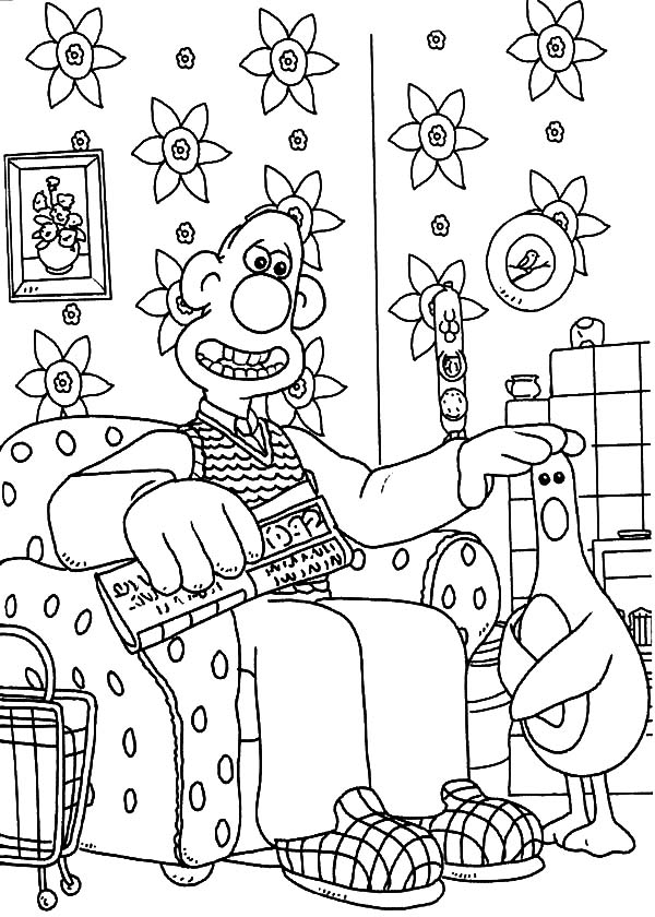 wallace and gromit coloring pages | Wallace And Gromit Touch Chicken Head Coloring Pages ...