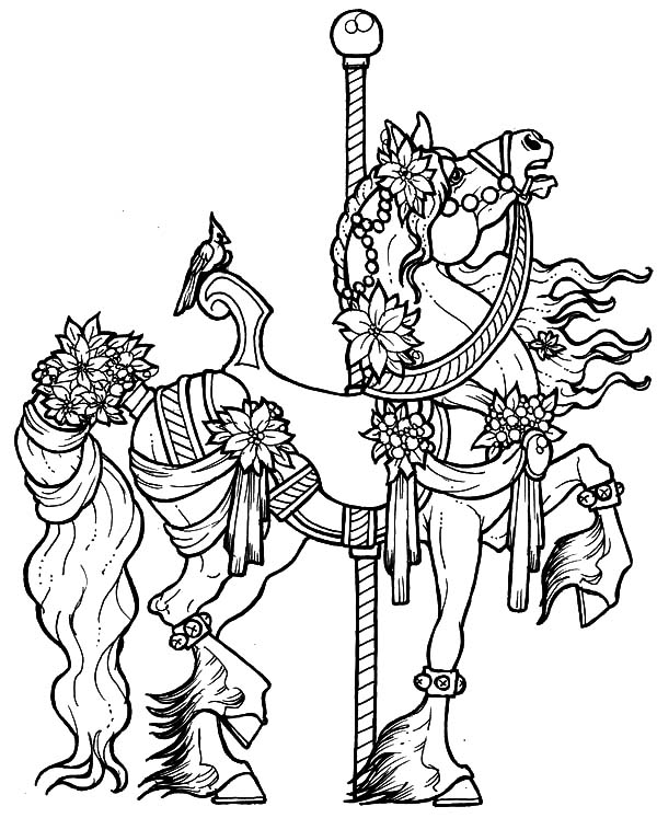 Beautifully Decorated Carousel Horse Coloring Pages | Best ...