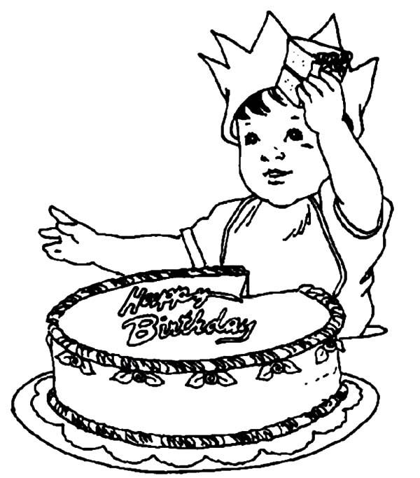 Birthday boy cutting his birthday cake coloring pages for Birthday boy coloring pages