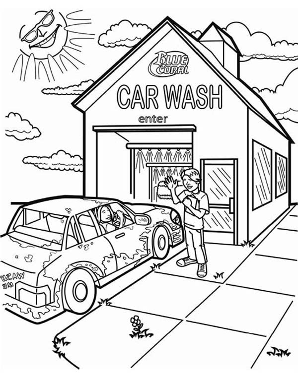 Three Girl Car Wash Coloring Pages