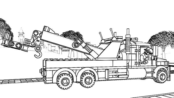 lego tow truck coloring pages