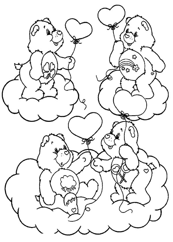 care bear heart coloring pages | Care Bears Catching Heart Shaped Clouds Coloring Pages ...