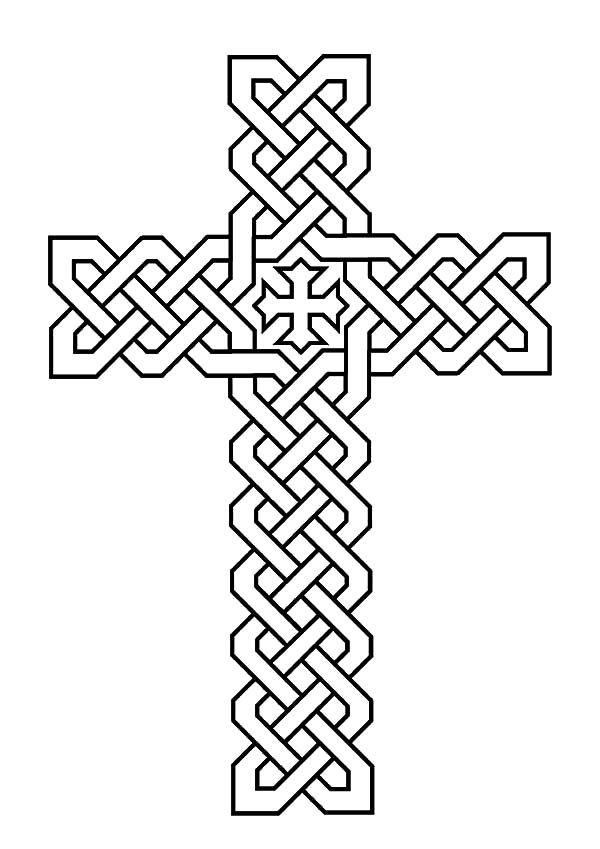 Rose Decorated Celtic Cross Coloring
