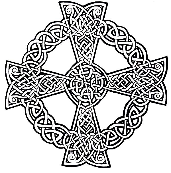 Rose decorated celtic cross coloring pages best place to for Celtic cross coloring pages