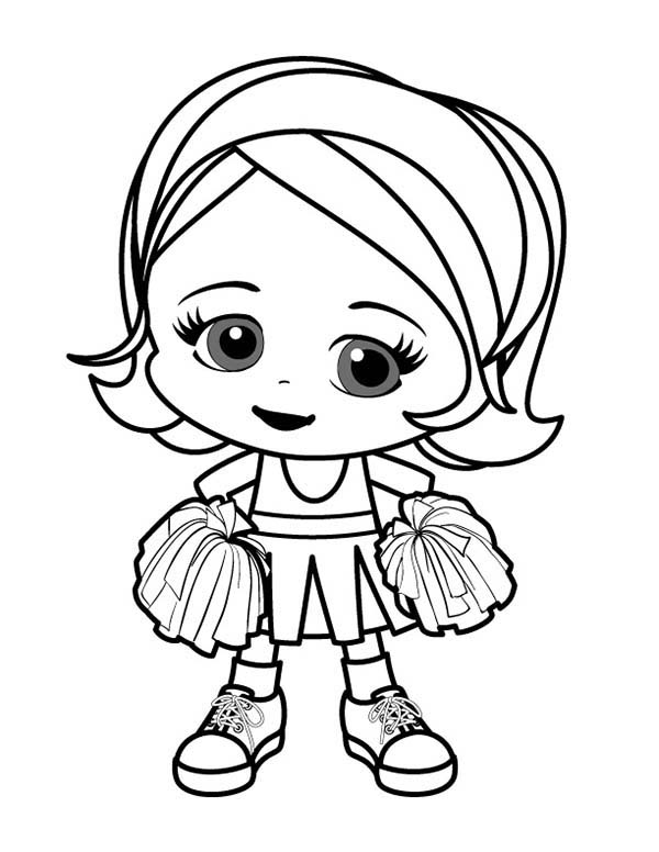 Cheerleader Perform Great Stunt Coloring Pages | Best ...