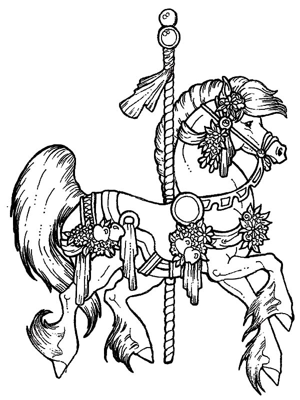 Carousel Horse Coloring Pages For Kids