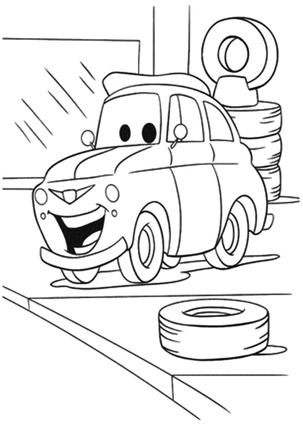 Small And Big Car Tire Coloring Pages