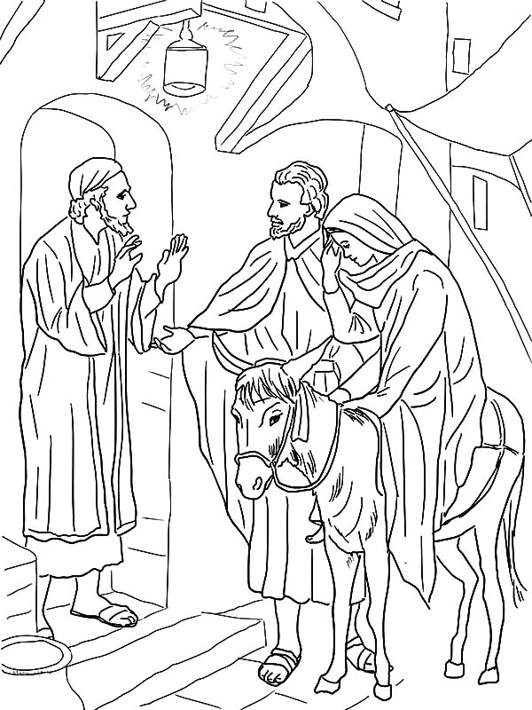 No Room At The Inn For Mary And Joseph Donkey Coloring