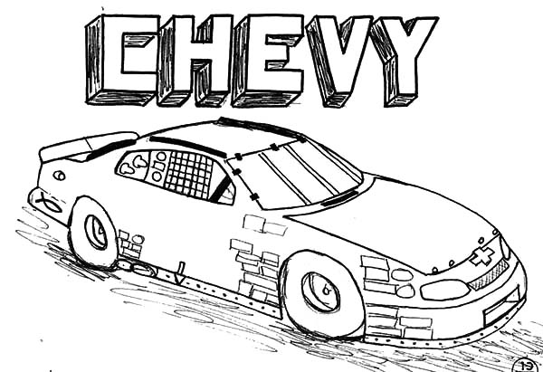 chevy cars at mcd drive in coloring pages