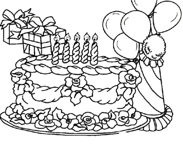 Coloring Pictures Of Birthday Cakes And Balloons